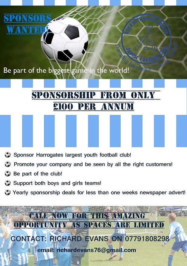 Sponsor Harrogate's largest youth football club! Contact Richard Evans on 07791 808298 to discuss sponsorship opportunities.